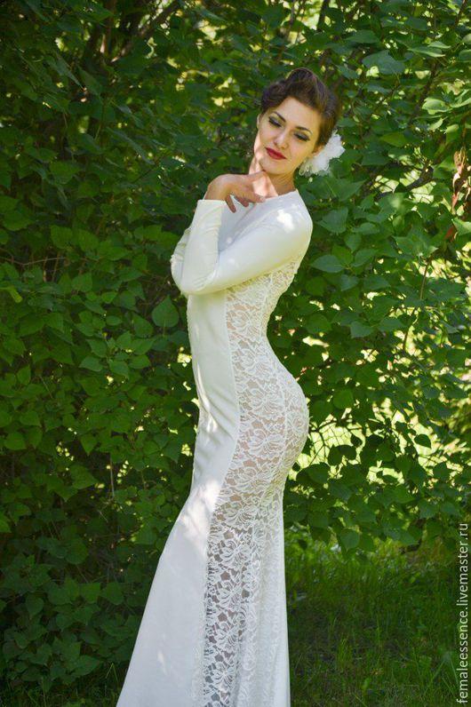 Платья ручной работы. Ярмарка Мастеров - ручная работа. Купить Длинное платье силуэта русалка. Handmade. Белый, платье в пол