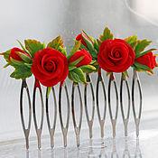"""Украшения ручной работы. Ярмарка Мастеров - ручная работа """"Алые розы"""" гребень. Handmade."""