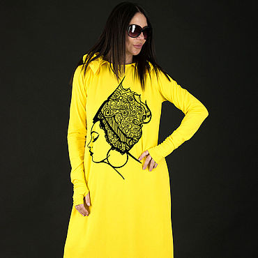 Clothing. Livemaster - original item Bright yellow dress with a print - DR0235TR. Handmade.