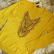 Одежда ручной работы. Ярмарка Мастеров - ручная работа Горчичный джемпер с мехенди. Handmade.