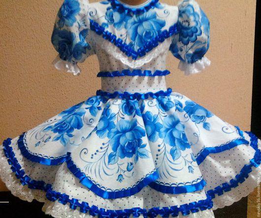 Детские танцевальные костюмы ручной работы. Ярмарка Мастеров - ручная работа. Купить платье Гжель 02. Handmade. Голубой