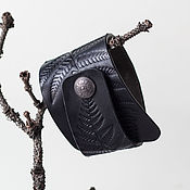 Украшения handmade. Livemaster - original item Black Leather Cuff Bracelet. Handmade.