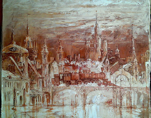 """Город ручной работы. Ярмарка Мастеров - ручная работа. Купить """"Город"""". Handmade. Коричневый, картина в интерьер, картина с москвой"""