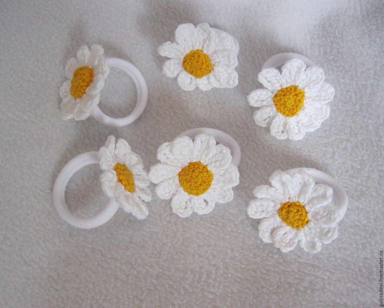 Вязание крючком цветов для резинок 82