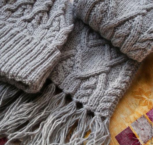 Серый шарф, серая шапка, зимняя шапка, шапка и шарф серые, шапку купить, серый цвет, шерсть, шапка для девушки, вязаная шапка серая