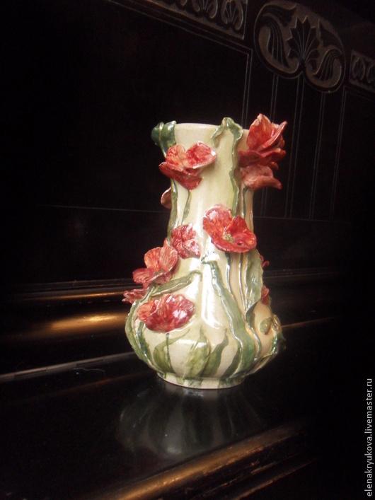 """Вазы ручной работы. Ярмарка Мастеров - ручная работа. Купить Ваза """" Маки"""". Handmade. Белый, цветы, ручная работа"""