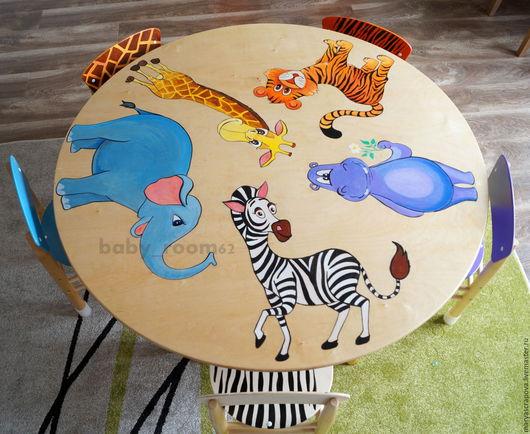 Детская ручной работы. Ярмарка Мастеров - ручная работа. Купить Детский стол со стульчиками (ручная роспись). Handmade. Комбинированный