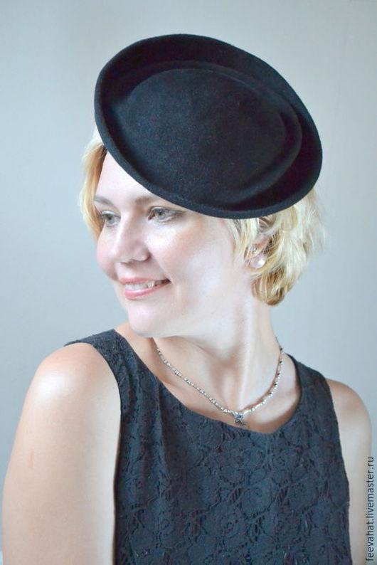 """Шляпы ручной работы. Ярмарка Мастеров - ручная работа. Купить Шляпка таблетка """"Черный диск"""". Handmade. Однотонный, шляпка женская"""