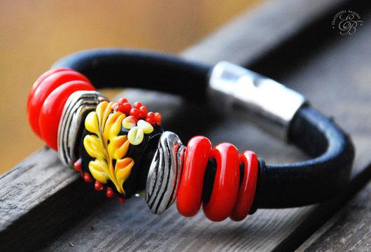 """Браслеты ручной работы. Ярмарка Мастеров - ручная работа. Купить """"Хохлома"""": браслет Regaliz. Handmade. Хохлома, lampwork (лэмпворк)"""