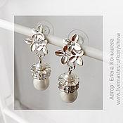 Украшения handmade. Livemaster - original item Silver white earrings with pearls and flowers.. Handmade.