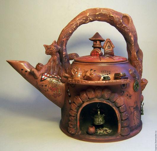 """Чайники, кофейники ручной работы. Ярмарка Мастеров - ручная работа. Купить Чайник """"Вечерняя сюита"""". Handmade. Коричневый, красный фарфор"""