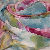торги сегодня, шелковый платок, шёлковый шарф, батик своими руками, батик платок, батик handmade, купить подарок, купить на аукционе, купить недорого