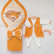 """Работы для детей, ручной работы. Ярмарка Мастеров - ручная работа Комплект  на выписку """"Оранжевый"""". Handmade."""