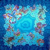 """Аксессуары ручной работы. Ярмарка Мастеров - ручная работа Шейный платочек """"Голубой омут"""". Handmade."""