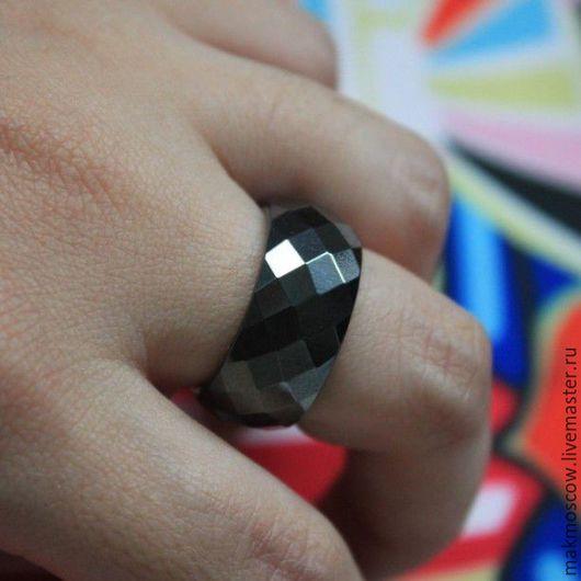 Кольца ручной работы. Ярмарка Мастеров - ручная работа. Купить кольцо из черного агата граненное. Handmade. Черный, кольцо из агата