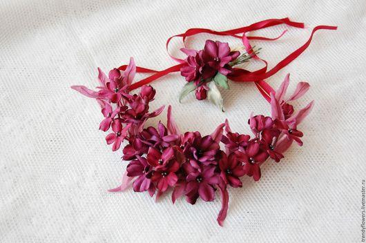 Колье на шею из цветов сакуры. Цветы из шелка