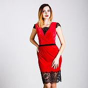 Одежда handmade. Livemaster - original item Red dress with black lace. Handmade.