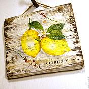 Картины и панно ручной работы. Ярмарка Мастеров - ручная работа «Лимоны» панно дерево. Handmade.