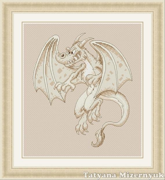 """Вышивка ручной работы. Ярмарка Мастеров - ручная работа. Купить Схема для вышивки крестиком """"Белый дракон"""". Handmade. Вышивка крестом"""