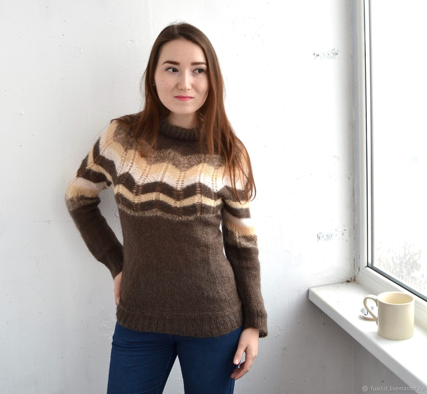 Sweater From Kid Mohair Zigzag Knitted From Mohair Light Jumper