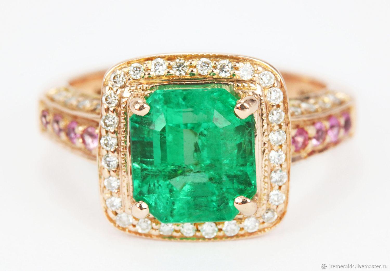 14K Rose Gold Emerald Engagement Ring, Emerald Ring, Emerald Engagemen, Rings, West Palm Beach,  Фото №1