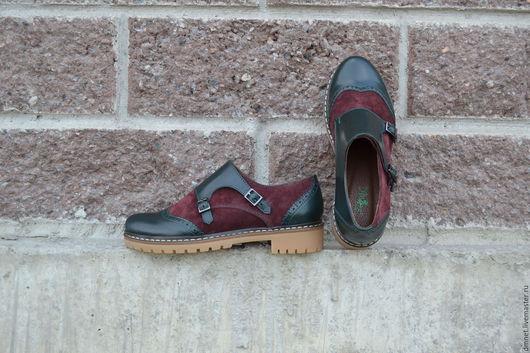 Обувь ручной работы. Ярмарка Мастеров - ручная работа. Купить Монки женские комбинированные. Handmade. Тёмно-зелёный, натуральная замша