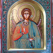 Картины и панно handmade. Livemaster - original item GUARDIAN ANGEL , hand painted icon ,arch ,ornament ,gold. Handmade.