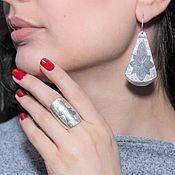 Украшения handmade. Livemaster - original item Minima series Cone ring and earrings in silver with embossing. Handmade.