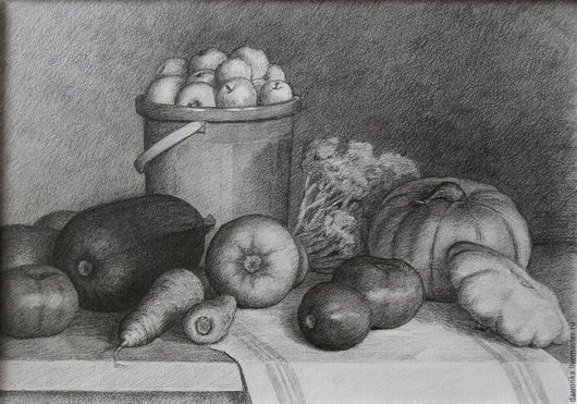 Натюрморт ручной работы. Ярмарка Мастеров - ручная работа. Купить Натюрморт с овощами. Графика. Handmade. Чёрно-белый, натюрморт с яблоками