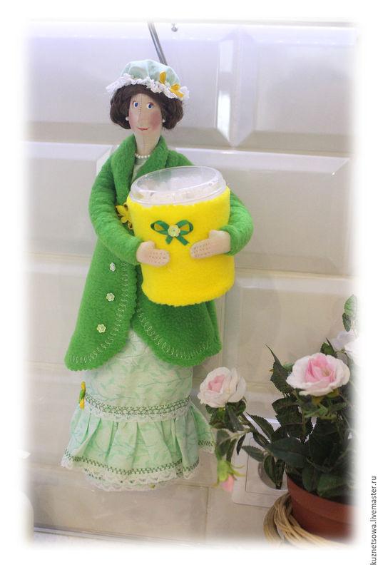 Ванная комната ручной работы. Ярмарка Мастеров - ручная работа. Купить Хранительница ватных дисков. Handmade. Зеленый, фея тильда