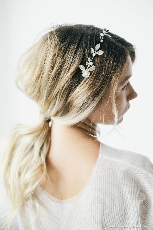 Цветочный ободок для невесты, украшение для прически серебряный ободок, Диадема для невесты, Санкт-Петербург,  Фото №1