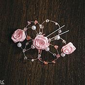 Свадебный салон ручной работы. Ярмарка Мастеров - ручная работа Шпильки в нежно-розовом цвете (3 шт). Handmade.
