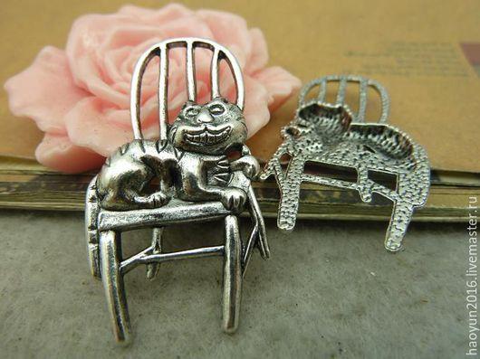 Для украшений ручной работы. Ярмарка Мастеров - ручная работа. Купить 5 шт металлические подвески старинное серебро кот C4508. Handmade.