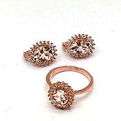 Украшения handmade. Livemaster - original item Jewelry sets: Earrings and ring with morganite. Handmade.