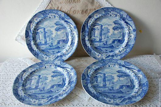 Винтажная посуда. Ярмарка Мастеров - ручная работа. Купить Антикварные тарелки Spode. Handmade. Синий, посуда, английское блюдо