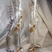 """Свадебный салон ручной работы. Ярмарка Мастеров - ручная работа Свадебные бокалы """"Золотая осень"""". Handmade."""