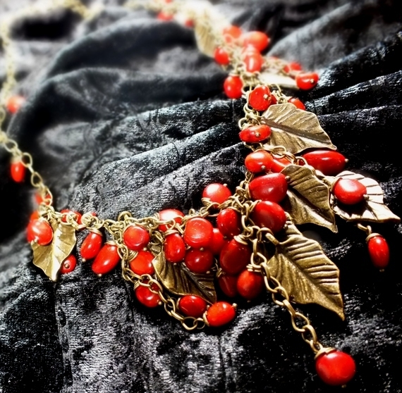 Coral shower. Necklace. Red corals, metal bronze, Necklace, St. Petersburg,  Фото №1