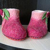 Тапочки ручной работы. Ярмарка Мастеров - ручная работа Детские тапочки розовые. Handmade.