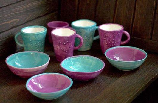 Кружки и чашки ручной работы. Ярмарка Мастеров - ручная работа. Купить Кружки чашки пиалы бирюзовые и сиреневые. Handmade. Бирюзовый