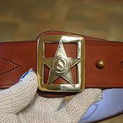 Straps handmade. Livemaster - original item Men high quality brass star buckle Genuine leather belt. Handmade.