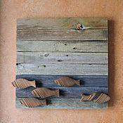 """Картины и панно ручной работы. Ярмарка Мастеров - ручная работа Непослушная - деревянная картина """"Рыбы №3"""". Handmade."""