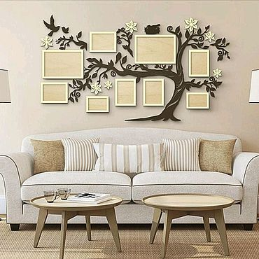 Для дома и интерьера ручной работы. Ярмарка Мастеров - ручная работа Семейное дерево с фоторамками 150х85. Handmade.