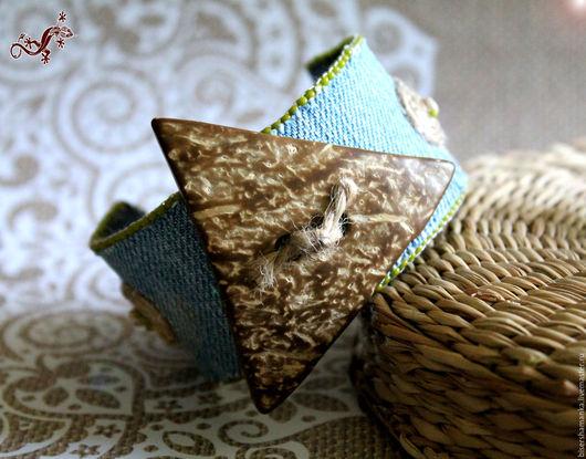 """Браслеты ручной работы. Ярмарка Мастеров - ручная работа. Купить Браслет """"DENIM"""". Handmade. Комбинированный, джинса, кокосовые бусины"""