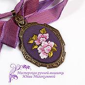 Украшения handmade. Livemaster - original item Embroidered pendant Peonies. Handmade.