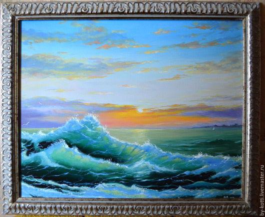 """Пейзаж ручной работы. Ярмарка Мастеров - ручная работа. Купить Картина маслом """"Волна"""". Handmade. Тёмно-бирюзовый, закат на море"""