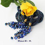 Украшения handmade. Livemaster - original item Lariat Indigo, wiring of beads, Indigo. Handmade.