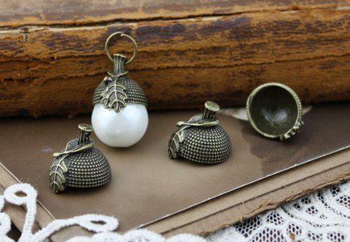 Для украшений ручной работы. Ярмарка Мастеров - ручная работа. Купить Шапочка-подвеска Желудь, античная бронза (1шт). Handmade.