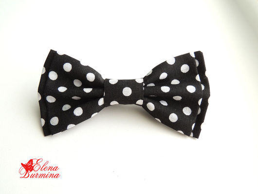 Галстуки, бабочки ручной работы. Ярмарка Мастеров - ручная работа. Купить Бабочка галстук черная в крупный белый горох. Handmade.