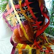 """Аксессуары ручной работы. Ярмарка Мастеров - ручная работа шарф в технике нунофелт """"Прозрачной сети паутина.."""".. Handmade."""