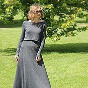 Одежда ручной работы. Ярмарка Мастеров - ручная работа Вязаный костюм с длинной юбкой из итальянской пряжи, пышная юбка. Handmade.